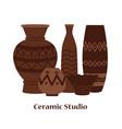 ceramic studio emblem design with clay vector image vector image
