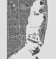 city map miami monochrome detailed plan vector image