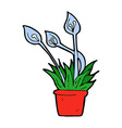 comic cartoon orchid plant vector image vector image