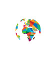 creative colorful continents world polygons logo vector image