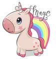 cute cartoon unicorn and a rainbow on a white vector image vector image