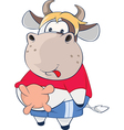 Cute Cow Cartoon Character vector image vector image
