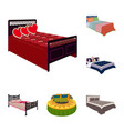 different beds cartoon icons in set collection for vector image vector image