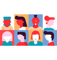 diverse people emotion avatar creative icon set vector image