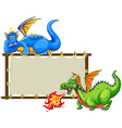 Dragons and sign vector image vector image