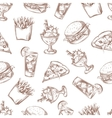 Fast food seamless background menu pattern vector image vector image