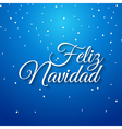 Feliz navidad spanish card Mery Christmas greeting vector image