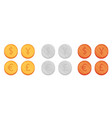 flat coin set vector image vector image