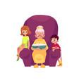flat grandmother boy girl at armchair vector image vector image