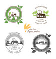 fresh farm produce and logo tractor vector image vector image