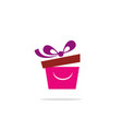 gift box smile logo vector image