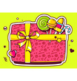 gift box top view and confectionery on gr vector image vector image