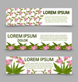 green banners template with plants and flowers vector image vector image