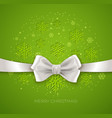 Green Christmas background ribbon with white silk vector image