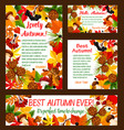 hello autumn banner set with fall nature frame vector image vector image