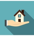 House in hand icon flat style vector image vector image