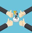 isometric businessman hands show thumb up finger vector image vector image