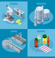 isometric pharmaceutical industry composition vector image vector image