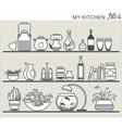 Kitchen utensils on shelves 4 vector image