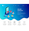 landing page isometric smartphone with icons vector image vector image
