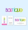 logo boutique multicolor labels business card vector image vector image