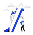 man climbs rising arrow with teamwork help to succ vector image