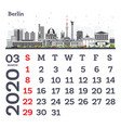 march 2020 calendar template with berlin city vector image vector image