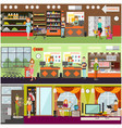 people making purchases flat poster set vector image