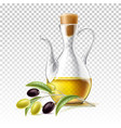 realistic glass virgin oil jug with branch vector image