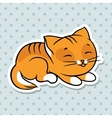 Red cute funny cat sleep vector image vector image
