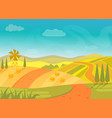 rural beautiful village landscape with mountains vector image vector image