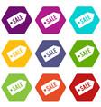 sale icon set color hexahedron vector image vector image