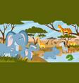 savanna animals african summer animals savannah vector image vector image