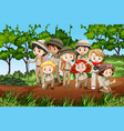 scene with many kids in scout uniform hiking vector image vector image