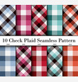 set 10 check plaid seamless pattern in blue vector image vector image