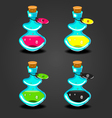 set bottles with different potions-4 vector image