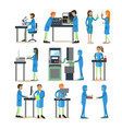 set of scientists engaged in research vector image vector image