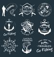 set vintage fishing labels badges vector image vector image
