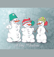 set winter holidays snowman cheerful snowmen vector image