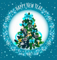 sketch with cute christmas tree with blue ribbon vector image