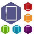 sketchbook icons set hexagon vector image vector image