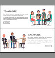 teamwork internet banners with office employees vector image