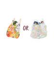 turtle bag and plastic bag flat vector image
