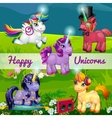 Unusual cartoon unicorns in a meadow vector image vector image