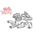 Vintage medieval lion silhouette vector image vector image