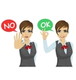 working woman says ok and no vector image vector image