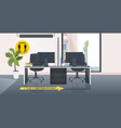 workplace desk with signs for social distancing vector image vector image