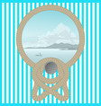 sea picture with a rope on a striped wall vector image
