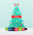 christmas tree with gifts on a snowy background vector image