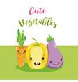cute vegetables kawaii cartoon vector image